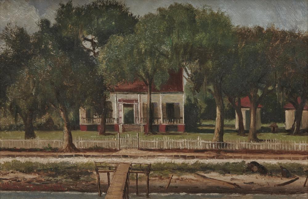 WILLIAM AIKEN WALKER, (American, 1838-1921), Summer Camp, 1894, oil on board, 8 1/8 x 11 1/2 in., frame: 9 1/4 x 12 5/8 in.