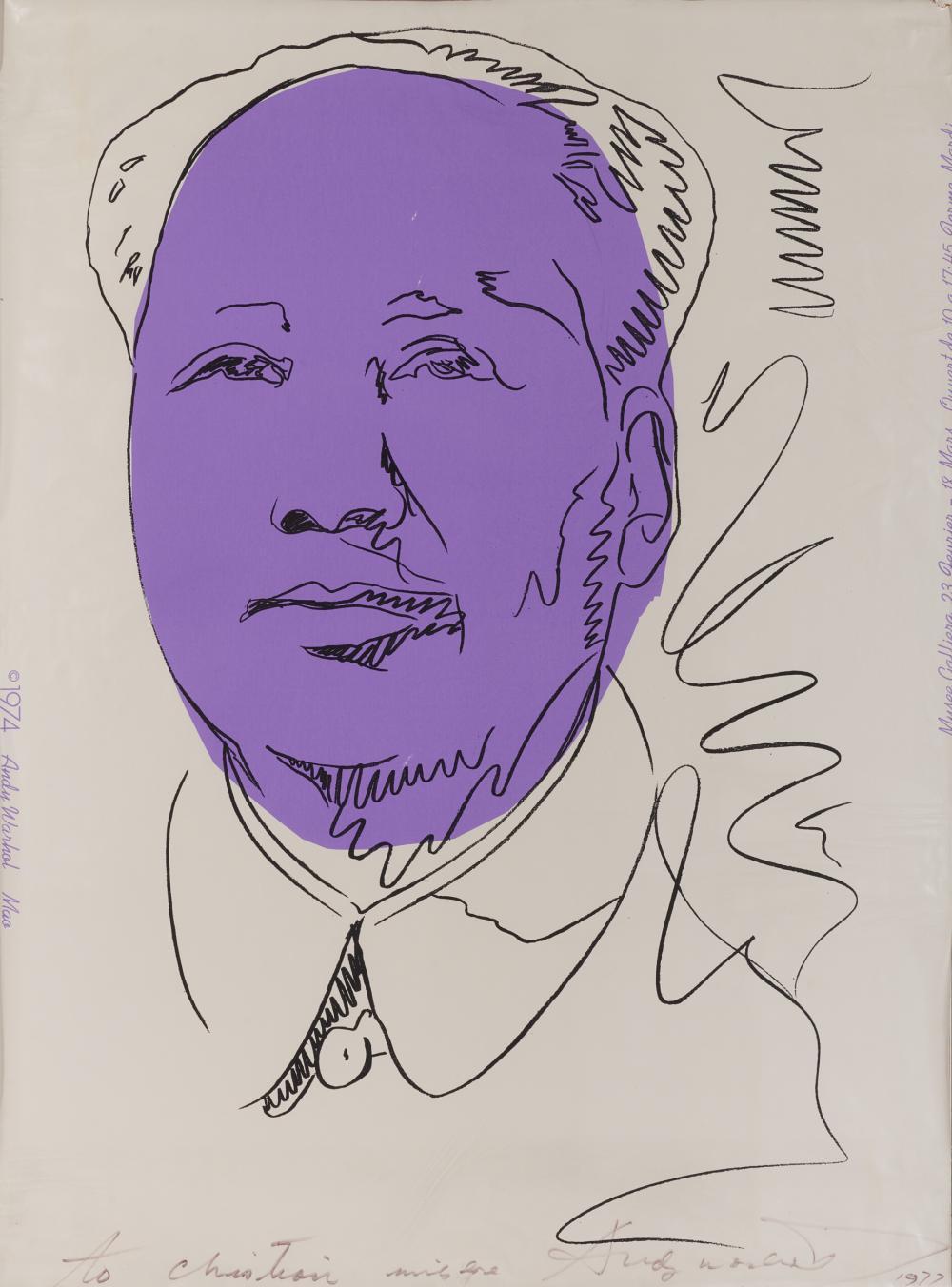 ANDY WARHOL, (American, 1928-1987), Mao (Wallpaper) (F. & S. II.125A), 1974, screenprint in colors, sight: 39 1/2 x 29 1/4 in., frame: 44 3/4 x 34 1/4 in.
