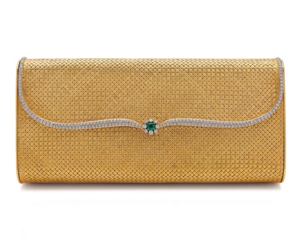 18K Gold, Diamond, and Emerald Evening Bag