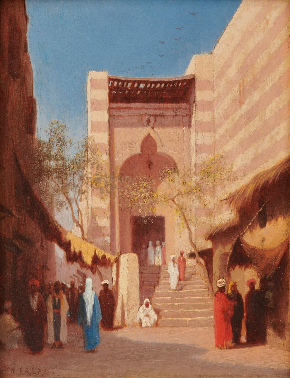 CHARLES-THEODORE FRERE, (French, 1814-1888), Entrance to the Mosque of Cairo, oil on panel, 6 3/4 x 5 in., frame: 14 1/4 x 12 3/4 in.