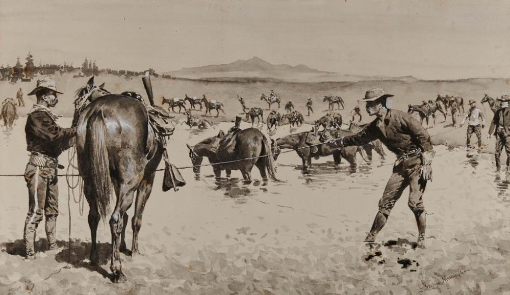 FREDERIC REMINGTON, (American, 1861-1909), Watering the Horses in a 'Dobe Hole, 1894-95, watercolor on paper, sheet: 22 x 30 1/4 in., frame: 32 1/4 x 43 in.