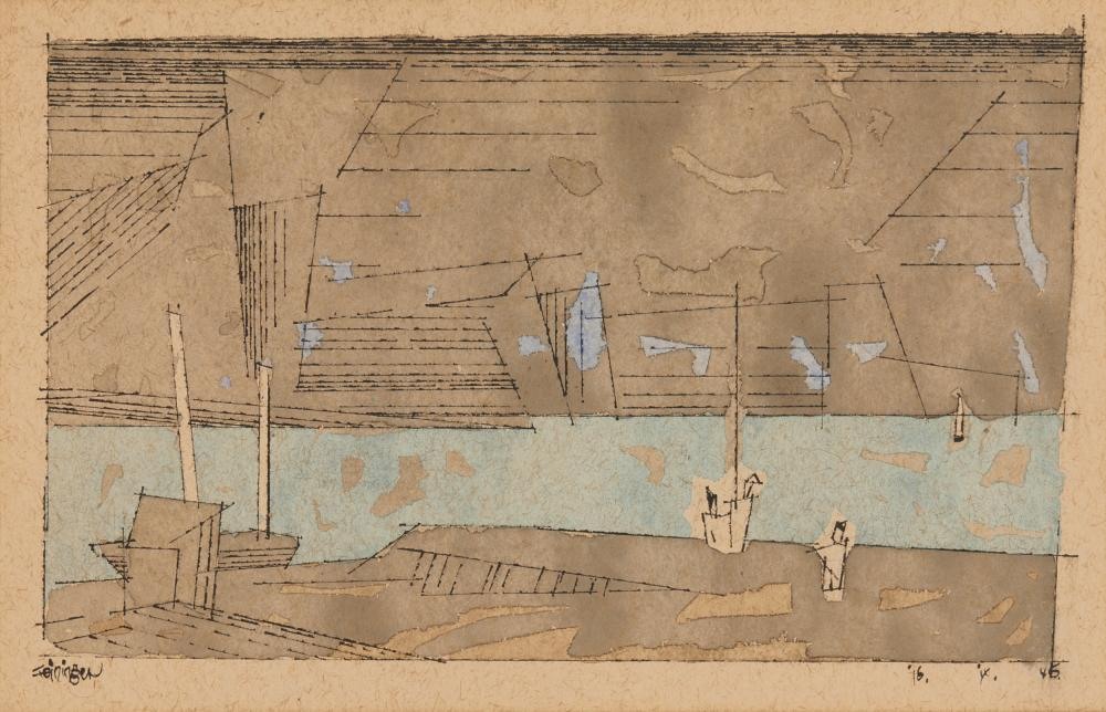 LYONEL FEININGER, (American, 1871-1956), Three Little Figures, 1946, watercolor and ink on paper, sheet: 7 12 x 11 in., sight: 6 1/2 x 10 1/4 in., frame: 13 7/8 x 17 1/2 in.