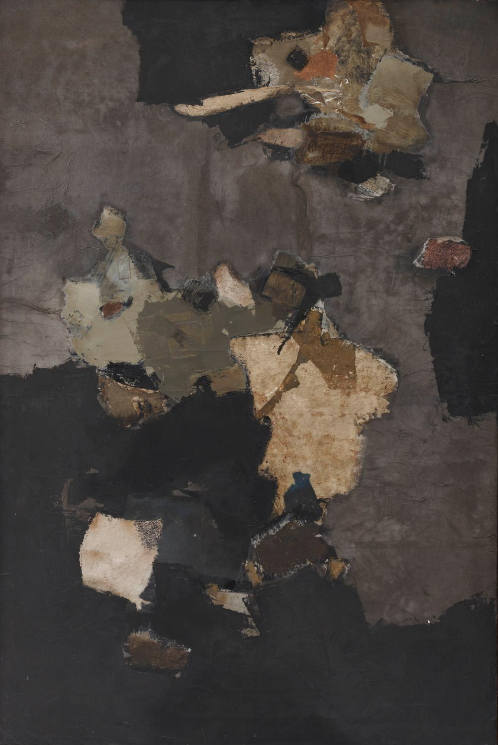 YUTAKA OHASHI, (Japanese/American, 1923-1989), Chofu No. 2, 1960, oil and paper collage on canvas, 36 x 24 in., frame: 36 1/2 x 24 1/2 in.