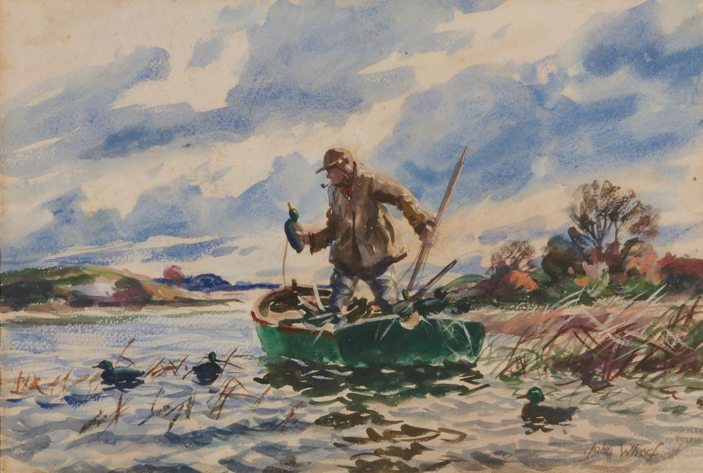 JOHN WHORF, (American, 1903-1959), Setting the Decoys, watercolor on paper, sheet: 15 x 22 1/4 in., frame: 25 1/2 x 31 1/2 in.