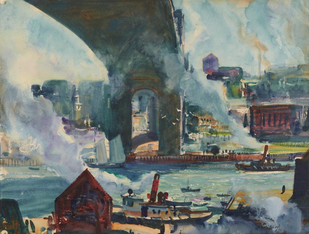 JOHN WHORF, (American, 1903-1959), Mystic Avenue Bridge, watercolor on paper, sheet: 22 x 28 3/4 in., frame: 29 3/4 x 36 1/2 in.