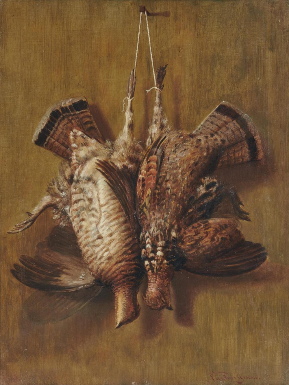 RICHARD LABARRE GOODWIN, (American, 1840-1910), Hanging Grouse, oil on canvas, 26 x 20 in., frame: 29 1/2 x 23 1/2 in.