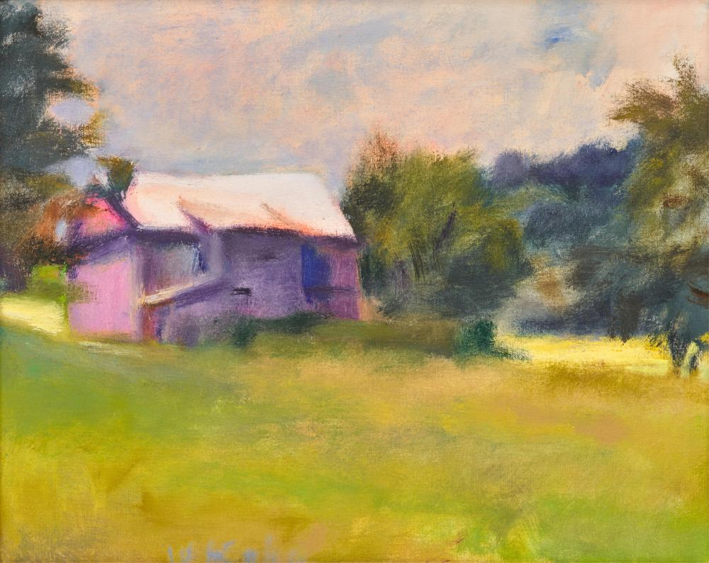 WOLF KAHN, (American, 1927-2020), Barn on the Auger Hole, South Newfane, Vermont, 1985, oil on canvas, 16 x 20 in., frame: 19 x 23 in.