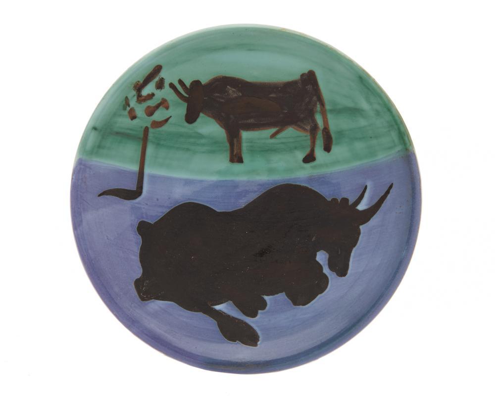 PABLO PICASSO, (Spanish, 1881-1973), Toros (A.R. 161), earthenware ceramic, diameter: 7 7/8 in.