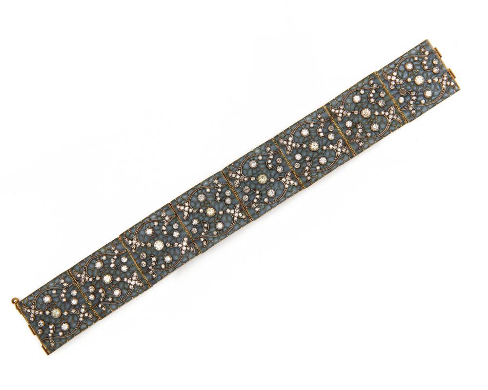 18K Gold, Plique-à-Jour, and Diamond Bracelet