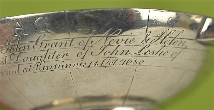 RARE SCOTTISH SILVER QUAICH, possibly Aberdeen, 1680, William Scott, maker;