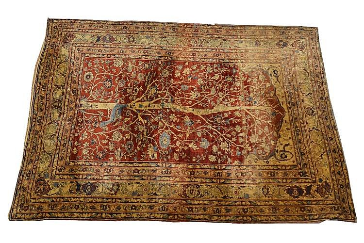 SILK TABRIZ PRAYER RUG, Persia, ca. 1880;