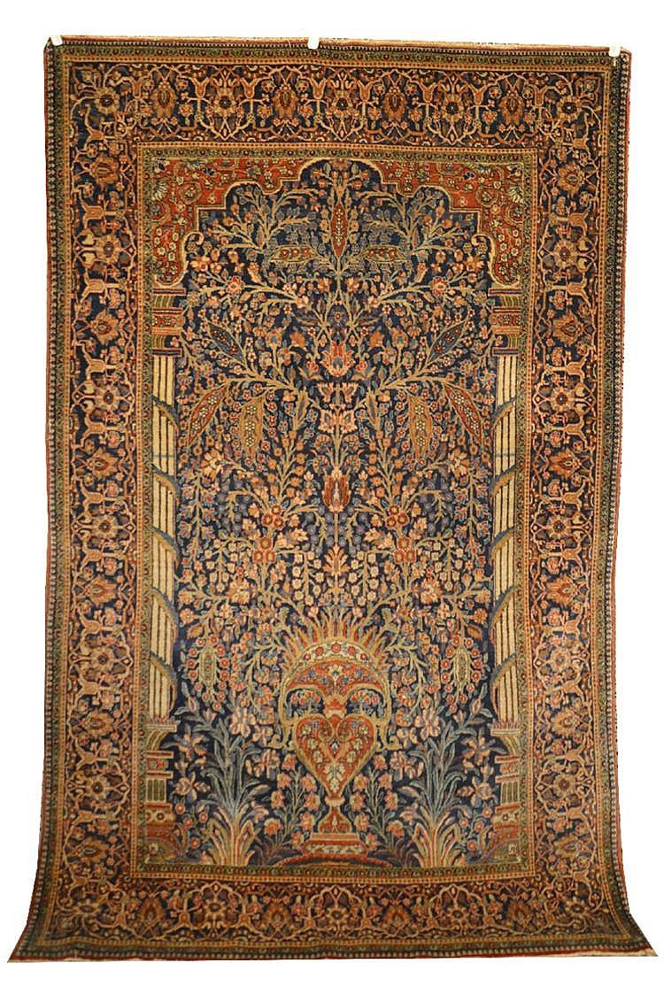 KASHAN PRAYER RUG, Persia, ca. 1920;