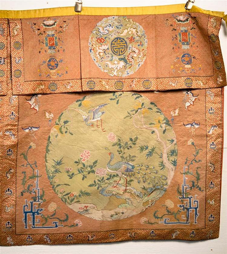 CHINESE SILK NEEDLEWORK HANGING PANEL, 18th/19th century