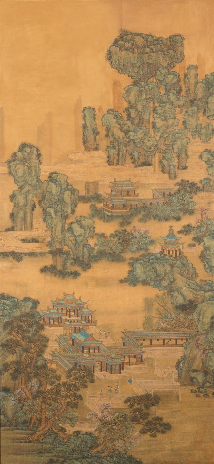 Chinese Landscape Painting on Silk; 85 x 42 in.