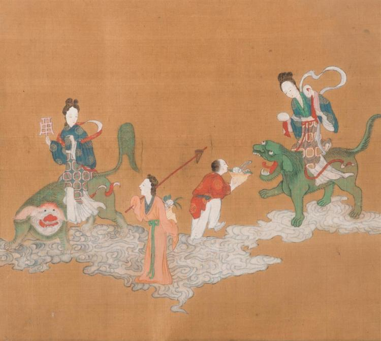 Pair of Chinese Paintings on Silk, The Scroll Connoisseur and The Seated Nobleman with Attendants; together with Two Additional Chinese Paintings on Silk