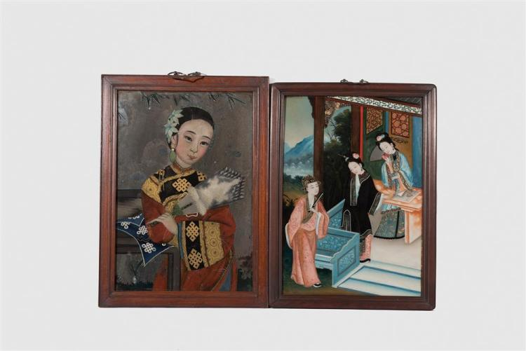 Two Chinese Reverse Paintings on Glass