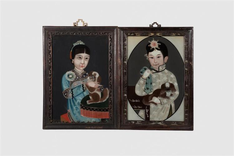 Pair of Chinese Reverse Paintings on Glass, depicting two children holding dogs