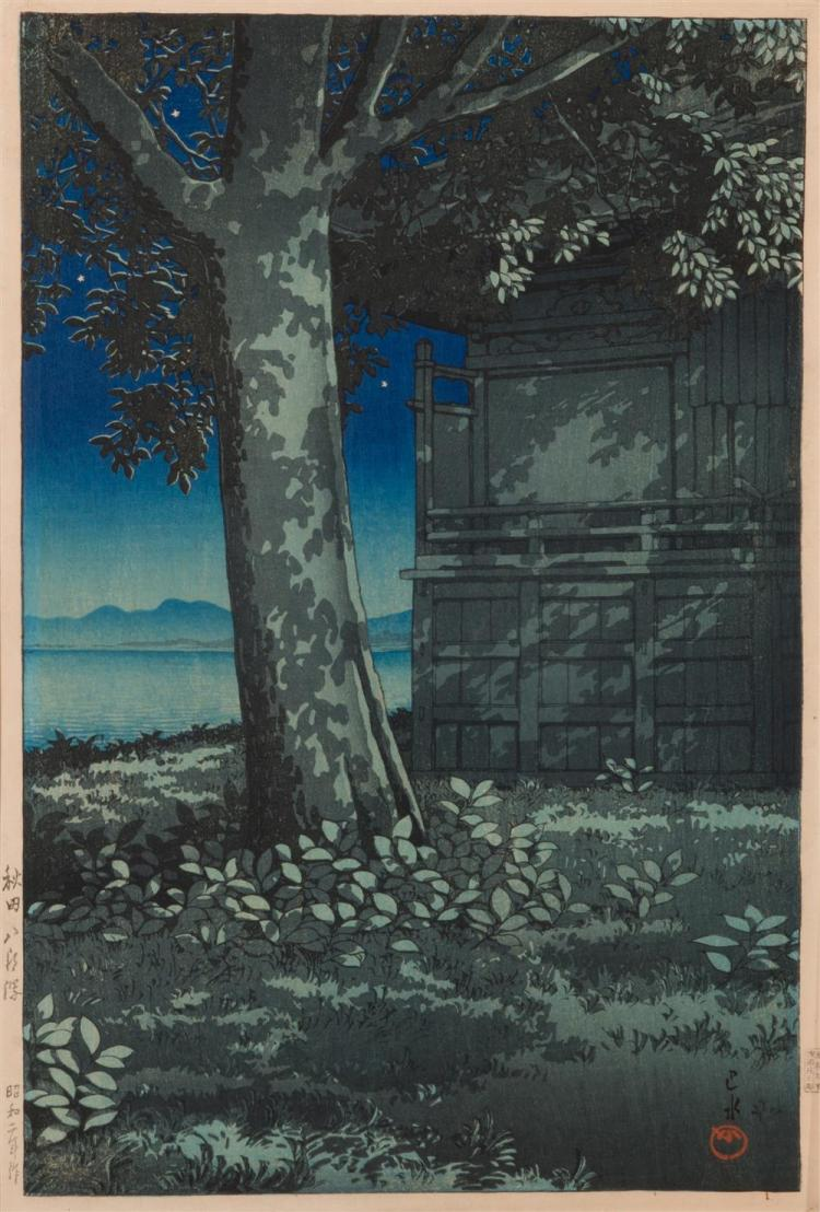 KAWASE HASUI, (Japanese 1883-1957), Lake Hachirogata, Akita, ca. 1927, color woodblock print, 15 1/8 x 10 1/8 in.