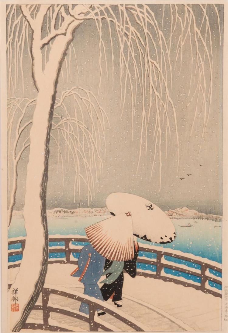 SHOSON OHARA, (Japanese, 1877-1945), Snow on Willow Bridge, ca. 1927, color woodcut, 15 1/4 x 10 1/4 in.