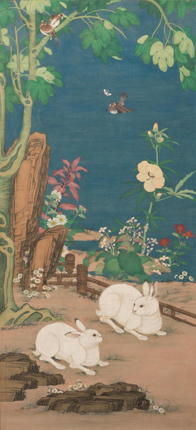 Chinese Painting on Paper, depicting two rabbits among birds in a colorful landscape setting