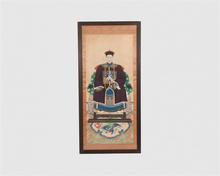 Chinese Ancestral Framed Scroll Portrait, early 20th century