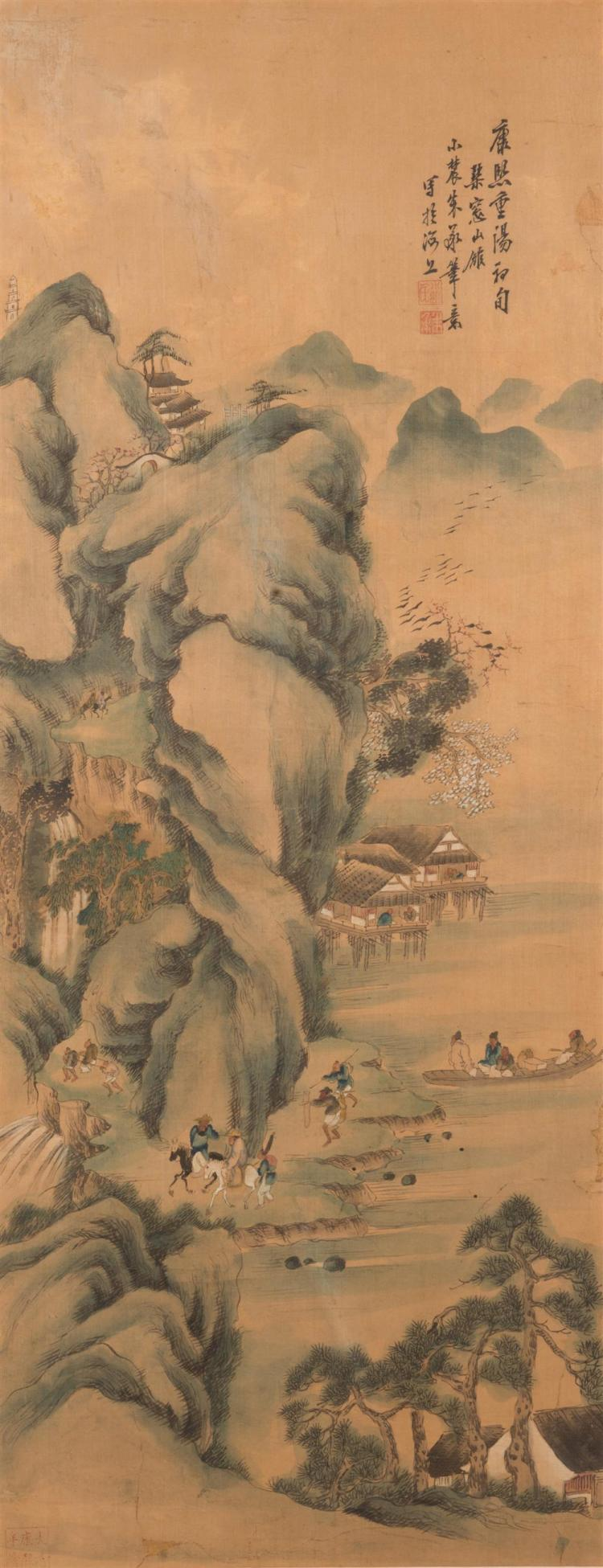 Framed Chinese Scroll, depicting a mountainous landscape with figures on horseback and in a boat
