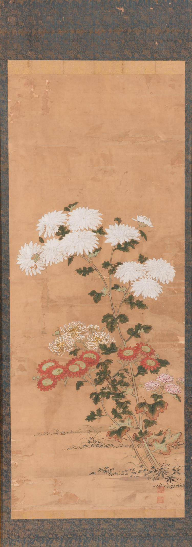 Pair of Framed Chinese Scrolls, depicting varying red and white chrysanthemums