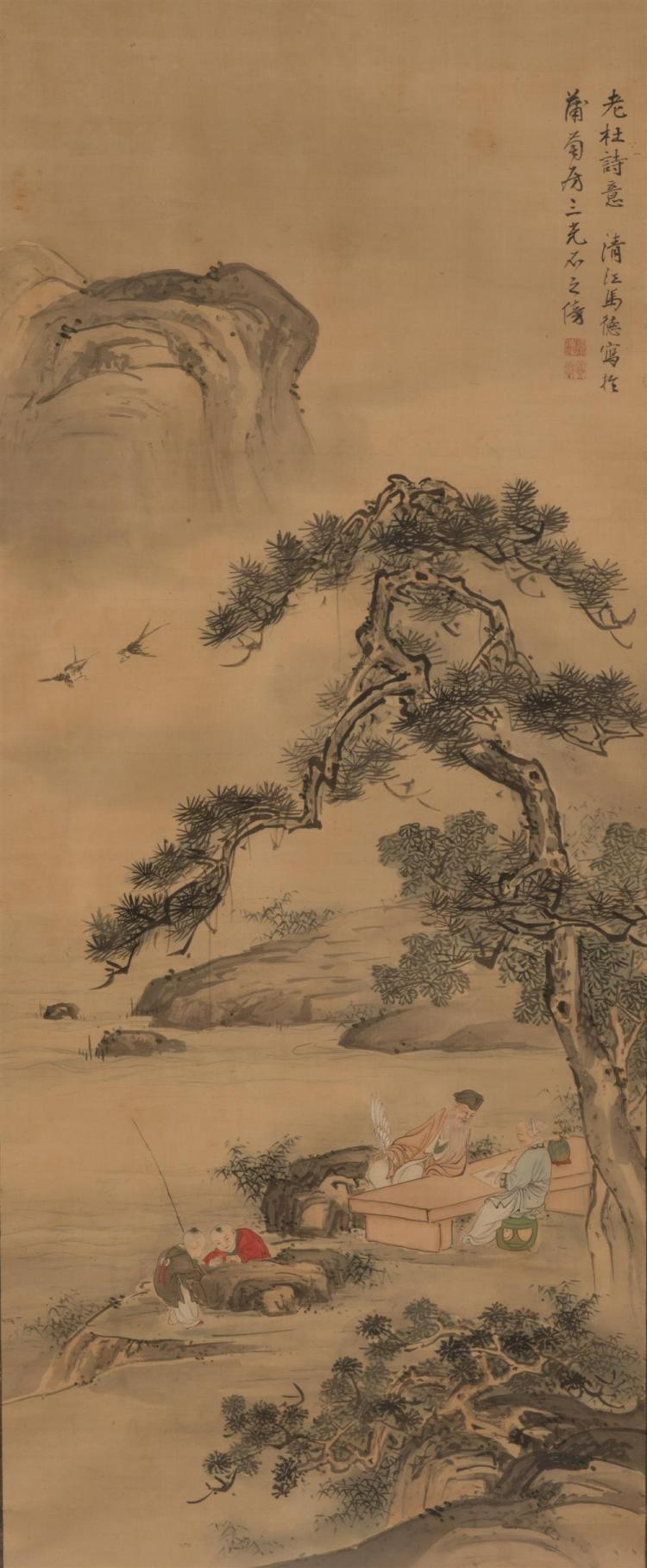Framed Chinese Scroll, depicting two scholars and children fishing beneath pine trees