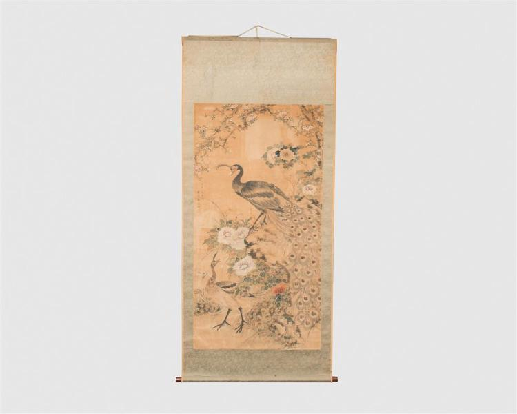Large Chinese Scroll, depicting a male and female peacock among flowering branches