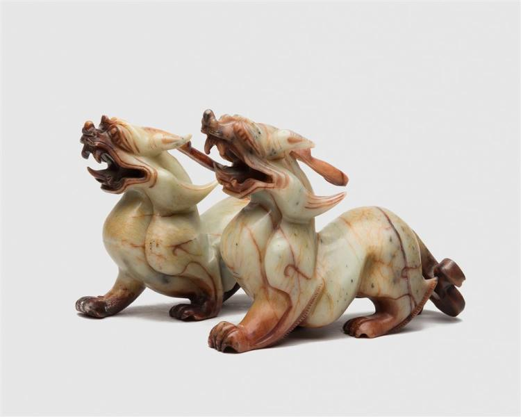 Pair of Carved Hardstone Figures of Foo Lions