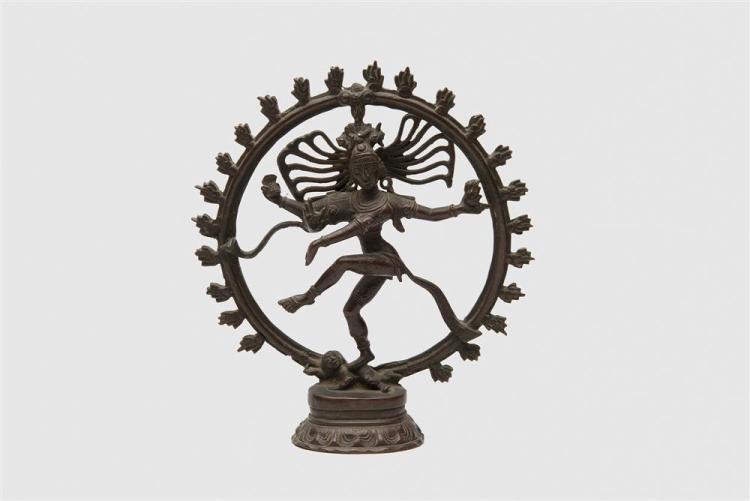Patinated Bronze Figure of the Hindu God Shiva as Nataraja Dancing in the Ring of Fire