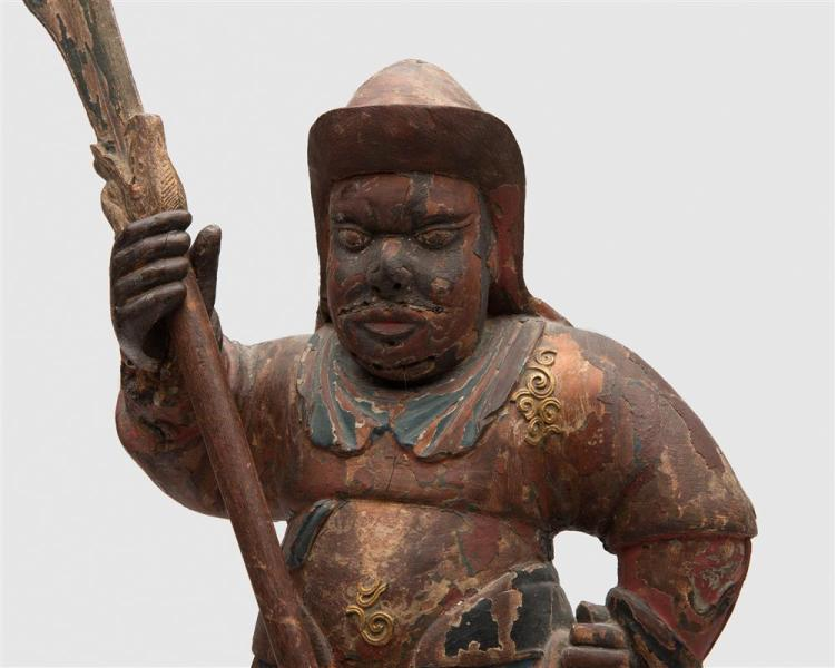 Japanese Carved and Painted Figure of a Standing Warrior