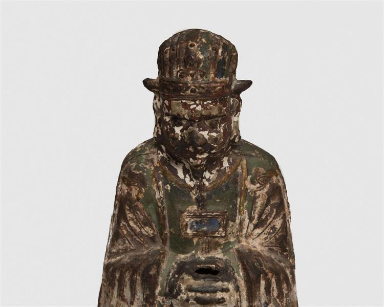 Chinese Painted Iron Buddha, with calligraphy decorated back