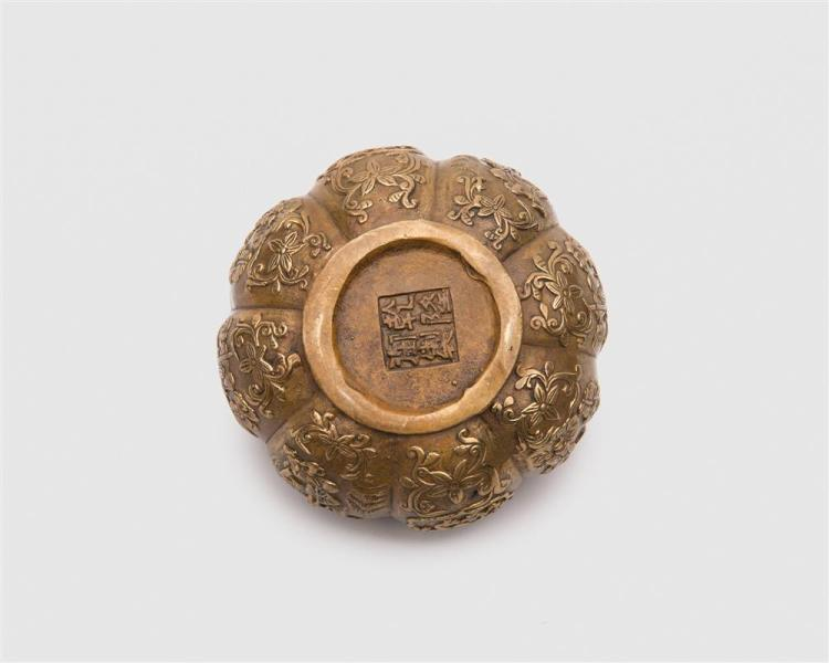 Chinese Gilt Bronze Covered Gourd Box, possibly 18th century
