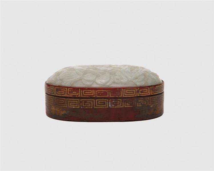 Chinese Carved White Jade and Red Lacquered Iron Oval Box