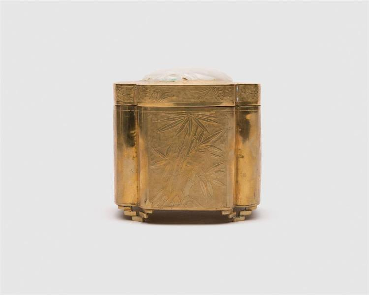 Chinese Brass Quatrefoil Covered Box Inset with a Carved White Jade Panel