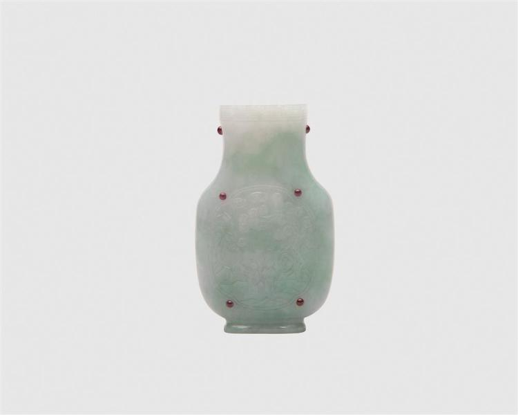 Chinese Carved Jadeite Vase, with inset red stones