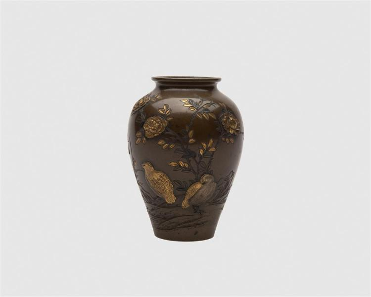 Japanese Bronze and Mixed Metal Vase