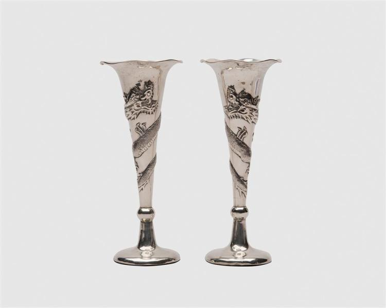 Pair of Chinese Weighted Silver Trumpet Vases, with dragon decoration, Tuck Chang & Co., makers, late 19th/early 20th century