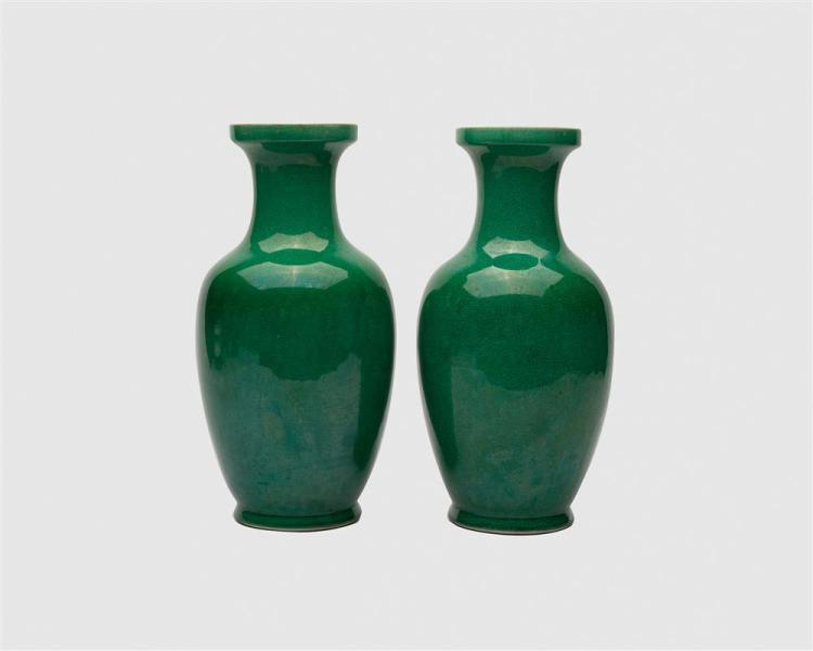 Pair of Chinese Apple Green Crackle Glaze Vases, 20th century