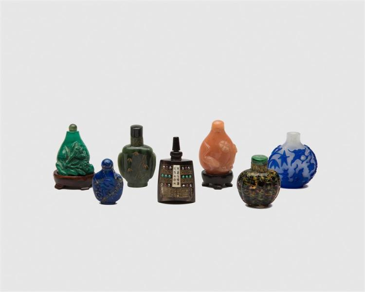 Collection of Seven Chinese Carved Glass and Stone Snuff Bottles