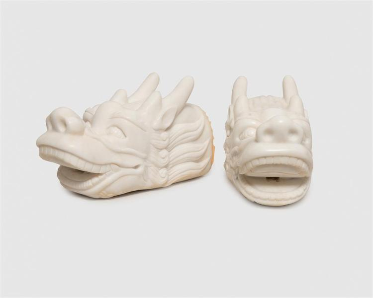 Pair of Chinese Carved White Marble Dragon Water Spouts