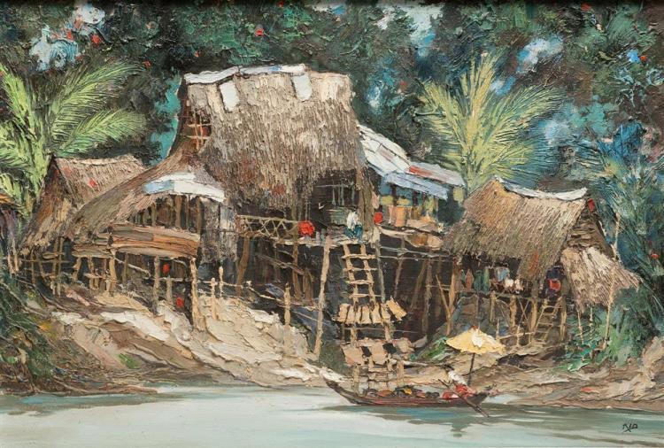 """KID KOSOLAWAT, (Thailand, 1917-1988), """"Riverside"""" Thonbury, Thailand, oil on canvas, 19 x 28 in.; frame: 25 x 34 1/4 in."""