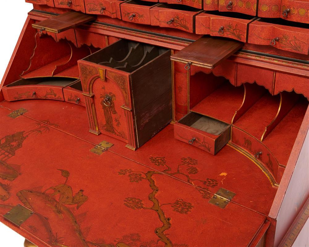 Georgian Style Red Lacquered Chinoiserie Secretary Bookcase, early 20th century