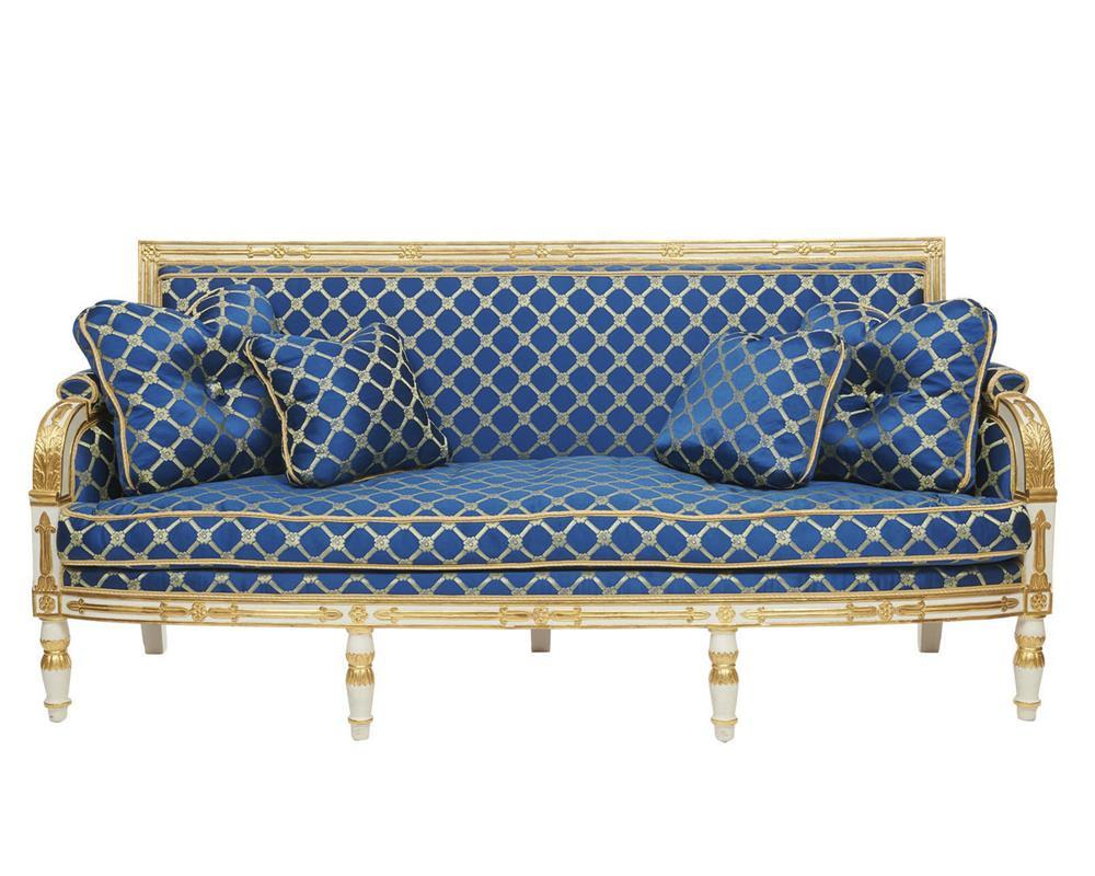 Empire Style White Painted and Parcel Gilt Settee, with cobalt blue silk upholstery, 20th century