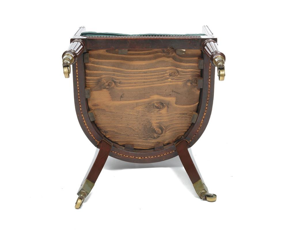 Regency Brass Inlaid Cane Back Carved Mahogany Bergere, with tooled leather seat cushion