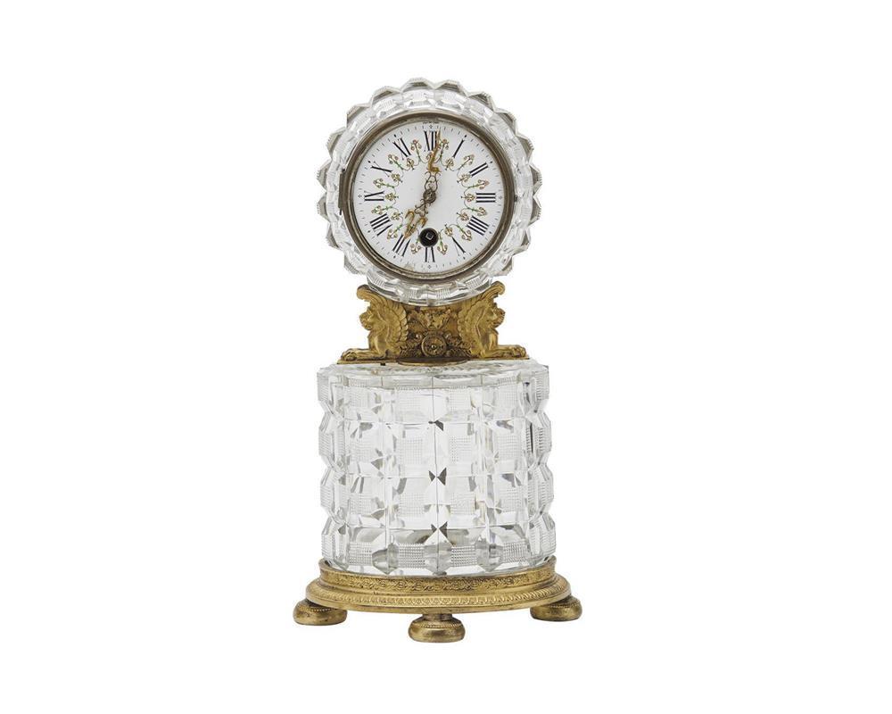 Continental Cut Glass and Gilt Bronze Shelf Clock, ca. 1900, with enamel dial inscribed Van de Geer