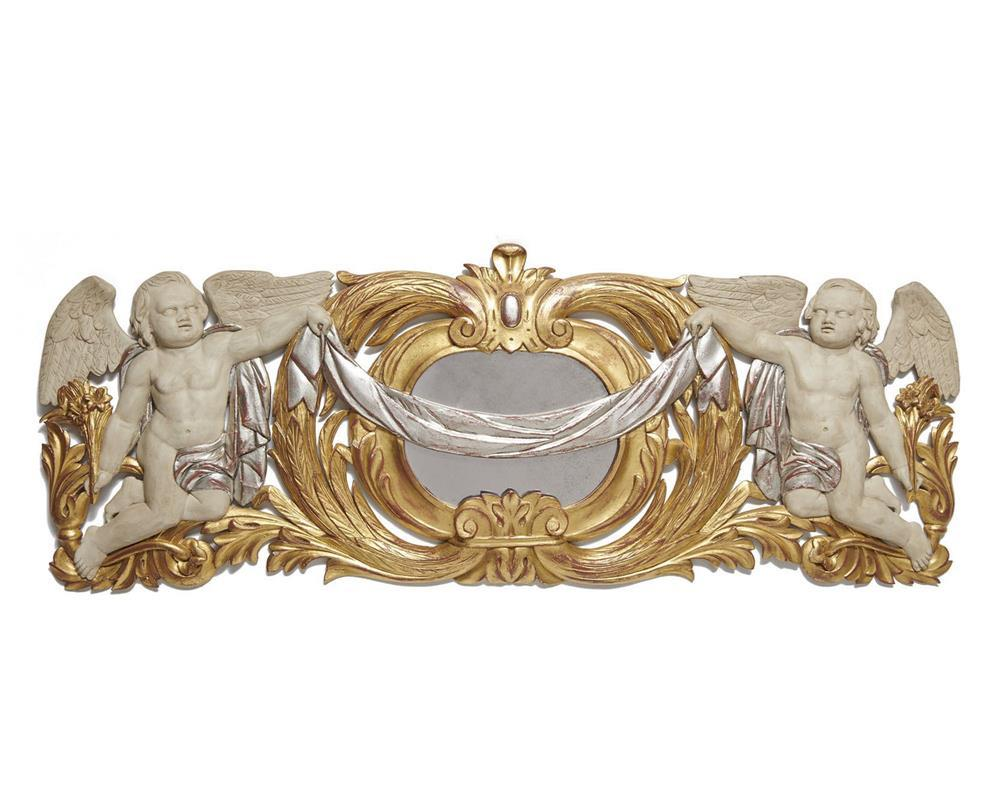 Continental Carved, Painted and Giltwood Relief Panel, 20th century, depicting two winged putti holding a ribboned swag flanking a central mirrored panel