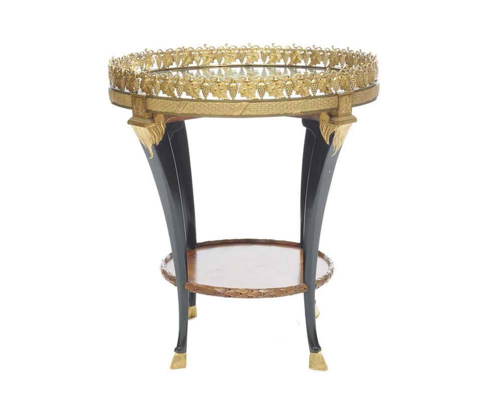 Neoclassical Gilt Bronze and Fruitwood Mirrored Top Side Table, late 19th century, with grape vine gallery and hoof feet