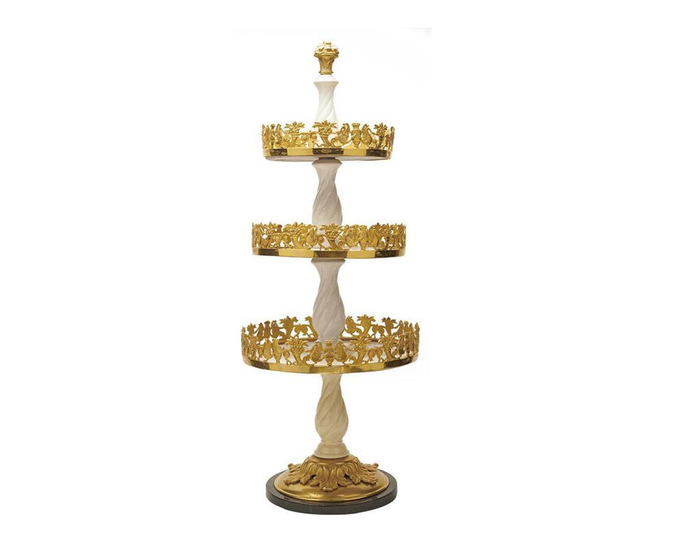 Neoclassical Style Creme Porcelain and Gilt Bronze Three Tier Table Stand, ca. 1900